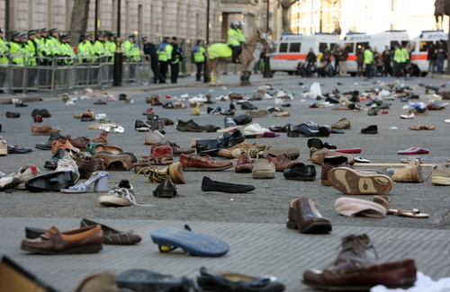 Shoes at entrance to Downing Street